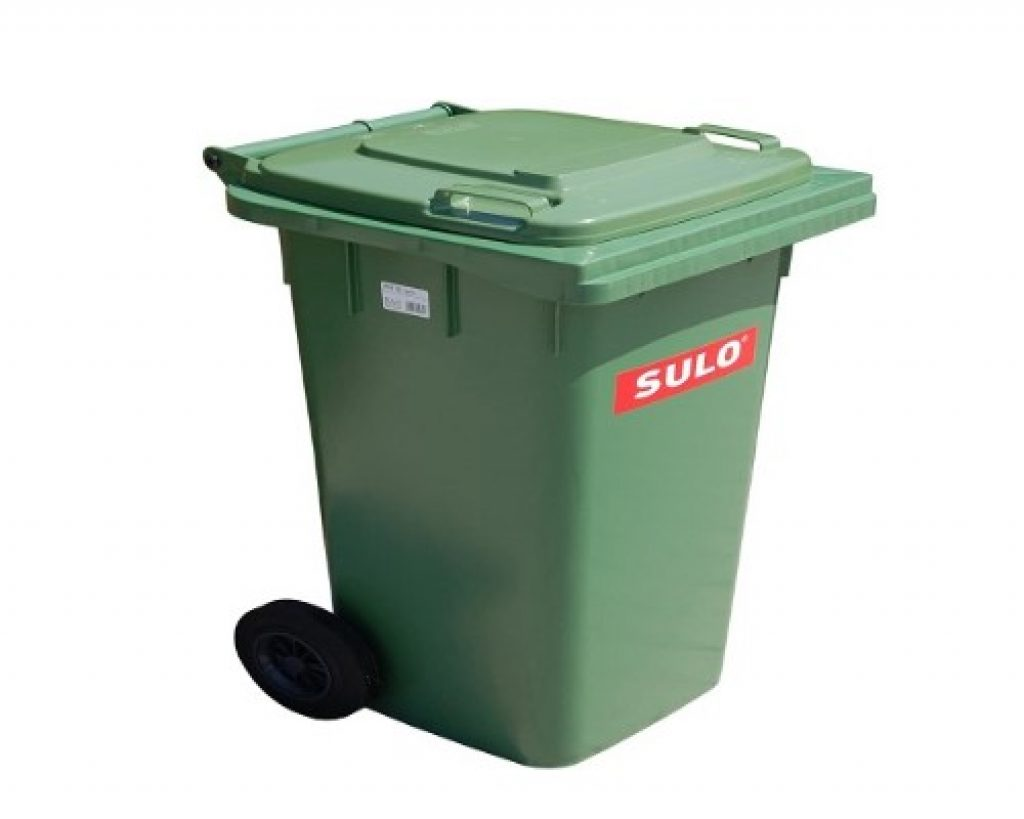contenedor de basura verde