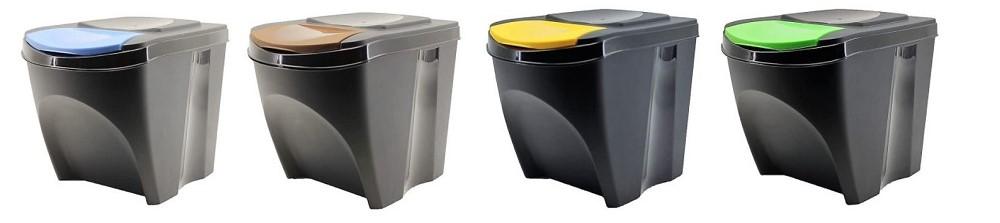 cubo de basura de reciclaje de colores