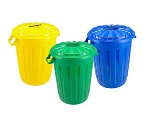 cubos de basura de colores